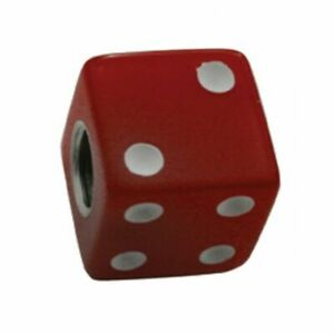 Red Dice W White Dots Valve Caps For Tires And Wheels Standard Fit Set Of 4