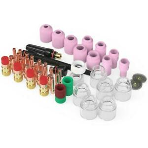 71pcs Tig Welding Torch Stubby Gas Lens 12 Pyrex Glass Cup Kit For Wp 17 18 26