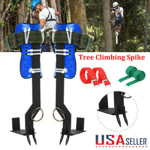 Tree pole Climbing Spike Set 2 Gears Both Sides Safety Belt Lanyard Rope Tool