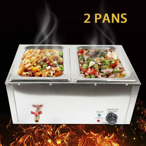 Commercial Electric Food Warmer Bain Food Container 2x 1 2 Gn Stainless Steel