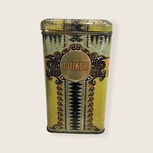 German Suiker Sugar Old Antique Vintage Tin Canister Metal Box 7 Tall S12