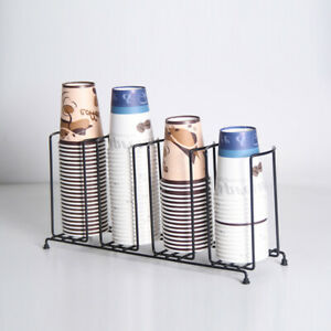 Stainless Steel Disposable Paper Water Coffee Cup Lid Holder Dispenser Rack