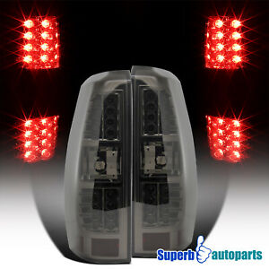 For 2007 2012 Chevy Avalanche Smoke Led Brake Tail Lights Replacement