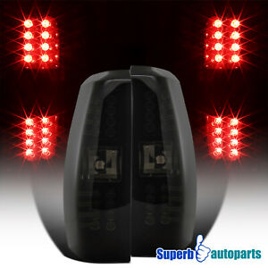 For 2007 2012 Chevy Avalanche Glossy Black Dark Smoke Led Lamps Tail Lights