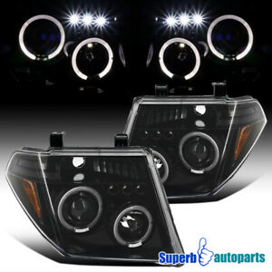 For 2005 2008 Nissan Frontier Pathfinder Halo Projector Headlight Polished Black