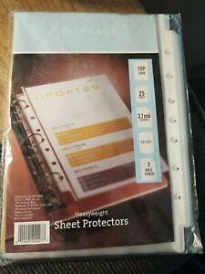 Heavyweight Sheet Protectors 25 Sheets Top Load 3 1 Mil 5 5 X 8 5 In 7 Hole New