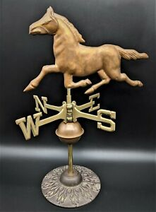 Vintage Copper Brass Running Horse Table Top Stand Weathervane