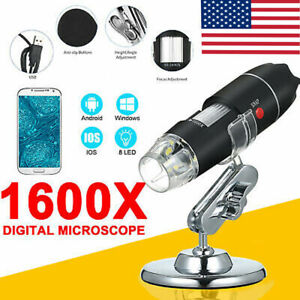Usb Digital Microscope Endoscope 1600x Zoom 3in 8led Magnifier Camera stand D6p1