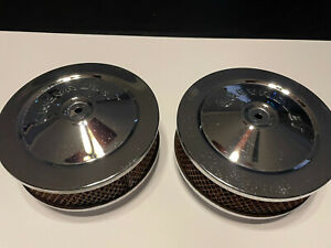 New Listingoem Gm Chevrolet Chrome Air Cleaners With Filters 2x2 Dual Carb Rat Rod