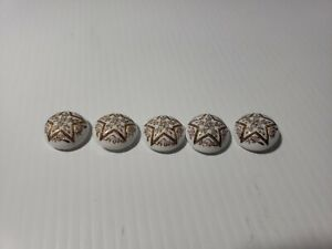 5 Matching Victorian Era White Glass Button Gold Flowers Painted Star Pentacle
