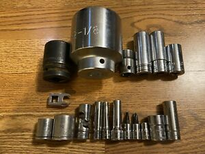 15pc Snap On Mac Blue Point Used Tools Lot Of Nice Sockets Shallow Deep Impact