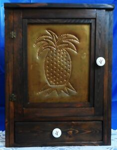 Spice Apothecary Cabinet Chest Tooled Punched Wood 3 Shelf 1 Drawer 2 Knob