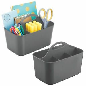 Mdesign Plastic Storage Caddy For Desktop Office Supplies Small 2 Pack Gray