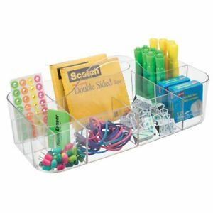 Mdesign Portable Plastic Home Office Storage Utility Tote Caddy Large Clear