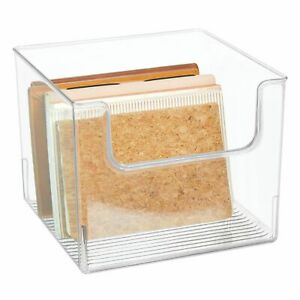Mdesign Open Front Plastic Storage Bin For Cube Furniture 10 Wide Clear