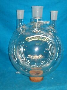Chemglass 5000ml Jacketed Dual Wall 3 Neck 29 42 45 50 Round Bottom Flask