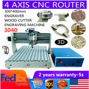 4 Axis Cnc 3040 Router Engraver Woodworking Carving Milling Machine 400w Remote