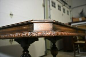 1930s Jacobean Style Dining Room Set Table Chairs And Buffet