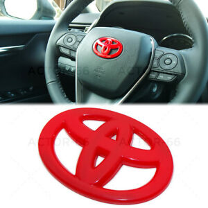 Red Steering Wheel Logo Badge Cover Overlay Emblem For Toyota Decorate Sport Fits 2004 Corolla