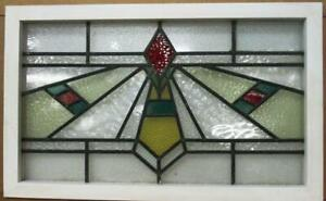 Old English Leaded Stained Glass Window Transom Lovely Geometric 30 75 X 19