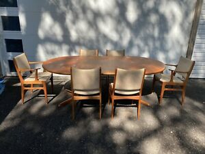Vintage Skovby Teak Dining Table With 2 Leaves And 6 D Scan Chairs