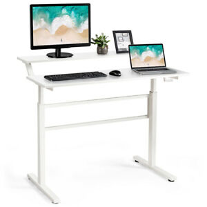Standing Desk Crank Adjustable Sit To Stand Workstation With Monitor Shelf White