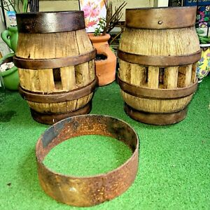 Antique Pair Of Wagon Wheel Hubs Wood Iron Extra Band Great For Lamps