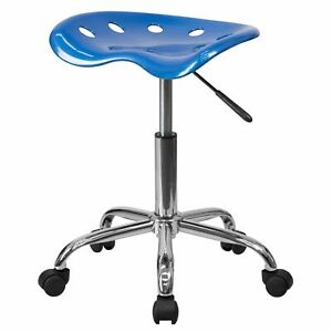 Delacora Ff lf 214a Blue 17 w Metal Swivel Seat Stool With Tractor Seat