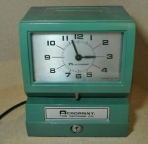 Acroprint model 150nr4 Analog Automatic Time Clock no Key Very Clean