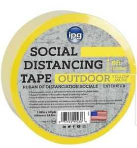 Ipg Outdoor Social Distancing Tape 1 88 X 60 Yd Yellow single Roll