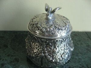 Antique Tea Caddy German 800 Silver Hand Chasted Swan Finial