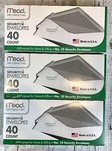 Lot Of 3 Mead Security Business Legal Envelope 10 Size 4 1 8 x 9 1 2 40 Ct box