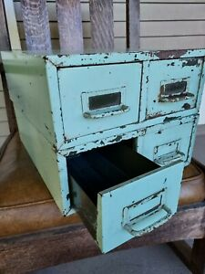 Vintage Metal Index Card Filing Boxes Cabinets 2 Drawer Turquoise 3 X 5 Set Of 2