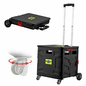 Foldable Utility Cart 4 Wheeled Rolling Crate With Brake System Black Box