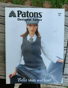 BONANZA SALE RARE KNITTING PATTERN BOOK: VESTS AND SCARF BY PATONS $1.00