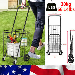 Folding Shopping Cart Bag W Wheels Trolley Portable Grocery Laundry Travel Dolly