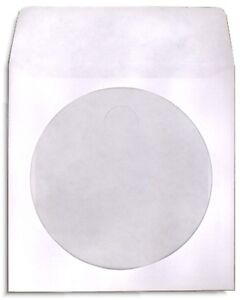200 pak White Paper Cd dvd Sleeves With Window Flap