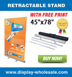 45 Wide Retractable Roll Up Banner Stand Free Vinyl Print For Tradeshows