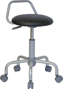 Black Vinyl Ergonomic Office Stool Chair