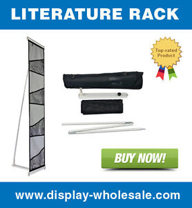 Four pocket Mesh Floor Literature Rack Brochure Magazine Display Holder