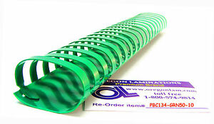 Plastic Binding Comb Spines 1 3 4 inch 44mm 19 Ring case Of 500 kelly Green
