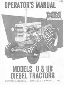 Minneapolis Moline U Ub Diesel Operator Maint Manual