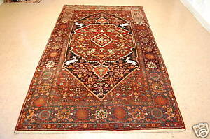 C1930s Antique Animal Subjects Persian Bijar Rug 5x8 6