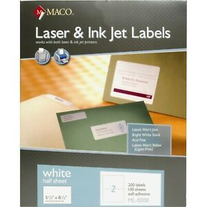 2000 Half Sheet Blank Shipping Labels For Paypal Usps Maco Brand
