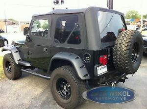 Premium For 97 06 Jeep Wrangler Replacement Soft Top Upper Skins Diamond Black