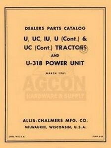 Allis Chalmers U Uc Iu U 318 Parts Catalog Manual