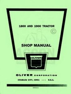 Oliver 1800 1900 Tractor Shop Service Repair Manual