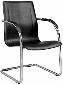 4 Black Chrome Framed Guest Office Desk Side Chairs