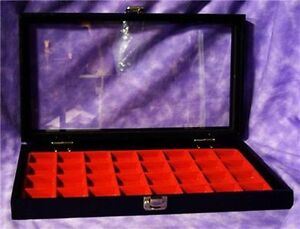 Earring jewelry 32 Slot Red Glass Top Jewelry Display