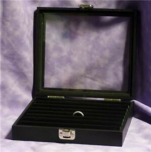 Glass Top Jewelry Display Case Box Tufted Ring Insert